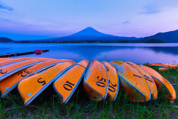 kawaguchiko lake and Mount Fuji san after sunset, Yamanashi, Japan