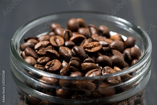 Poster jar of coffee beans, concept photo, closeup