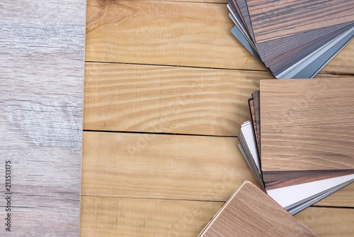 Foto Murales Samples of colored wooden samples for furniture processing