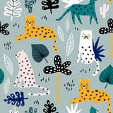 Seamless pattern with leopards, palm branch and tropical background. Creative jungle childish texture. Great for fabric, textile Vector Illustration - 213513338