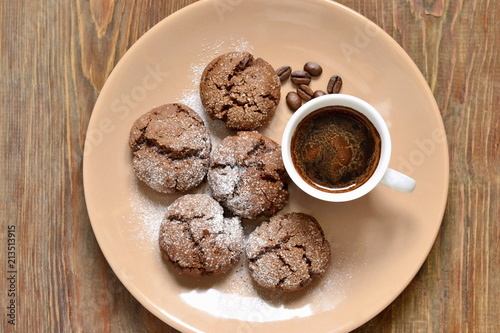 Chocolate cookies with cracks, top view