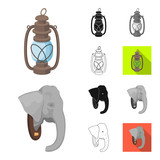 African Safari cartoon,black,flat,monochrome,outline icons in set collection for design. Trophies and equipment for Safari vector symbol stock web illustration.