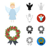 Funeral ceremony cartoon,black,flat,monochrome,outline icons in set collection for design. Funerals and Attributes vector symbol stock web illustration. - 213518342