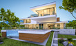 Leinwanddruck Bild 3d rendering of modern house by the river at evening
