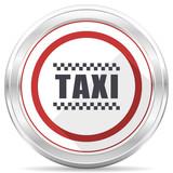 Taxi silver metallic chrome border round web icon on white background - 213522580