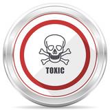 Toxic skull silver metallic chrome border round web icon on white background - 213523327