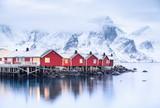Houses in the Lofoten islands bay. Natural landscape during sunrise - 213524156
