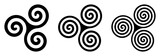Three black celtic triskelion spirals over white. Triple spirals with two, three and four turns. Motifs of twisted and connected spirals, exhibiting rotational symmetry. Isolated illustration. Vector. - 213524735