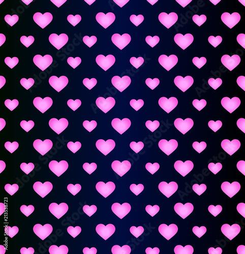 neonowe różowe serca gradient na ciemnym niebieskim tle - bezszwowe wektor wzór. Pomysł na romantyczny kartkę z życzeniami