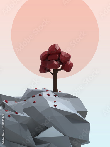 Wall mural Low Poly Nature Scene 3D Render