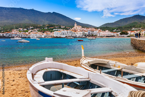 Aluminium Barcelona Sea landscape with Cadaques, Catalonia, Spain near of Barcelona. Scenic old town with nice beach and clear blue water in bay. Famous tourist destination in Costa Brava with Salvador Dali landmark