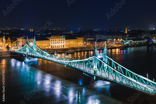 Fotobehang Boedapest Night view of Budapest. Panorama cityscape of famous tourist destination with Danube and bridges. Travel illuminated landscape in Hungary, Europe.