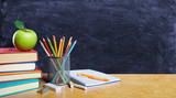 Back To School Concept - Books And Pencil With Apple On Table - 213550127