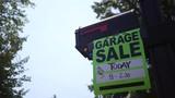 Garage sale sign in hot summer afternoon on a mailbox ALT - 213550324