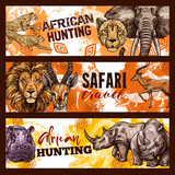 African safari hunting sketch banners with animals - 213565971