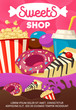 Tasty sweets and fast food shop cartoon poster