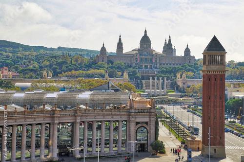 Aluminium Barcelona Barcelona, Spain-September 16, 2017: Barcelona Plaza de Espana (Spain Square) panoramic view