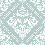 Orient vector classic light blue and white pattern. Seamless abstract background with vintage elements. Orient background. Ornament for wallpaper and packaging - 213581377
