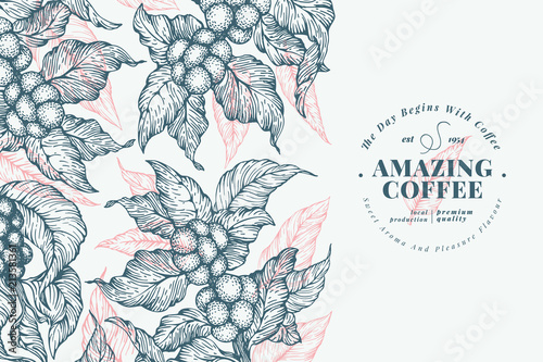 Coffee tree banner template. Vector illustration. Vintage coffee background. Hand drawn engraved style illustration.