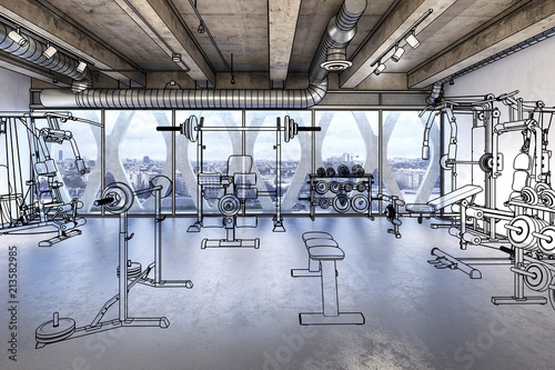Fotobehang Fitness Weights Room (preview)