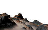 beautiful mountain range with low crawling clouds isolated on white background