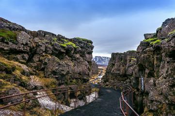Pingvellir (Thingvellir) National Park, Tectonic Plates in Iceland. © tawatchai1990