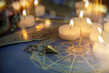 Magic ritual tools and candles, fortune telling - 213590119