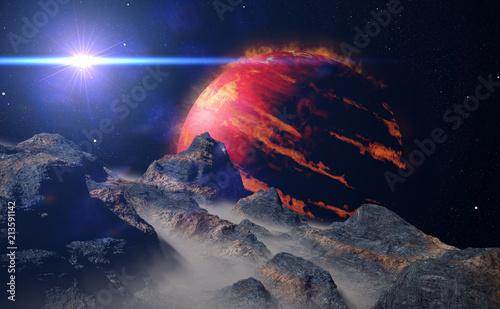Fotobehang Zwart landscape on alien moon orbiting a gas giant exoplanet, hot Jupiter class planet