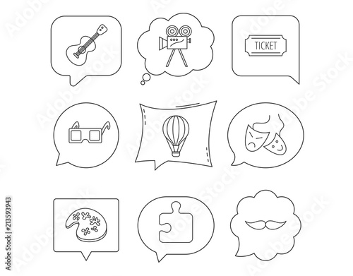 Puzzle, guitar music and theater masks icons.
