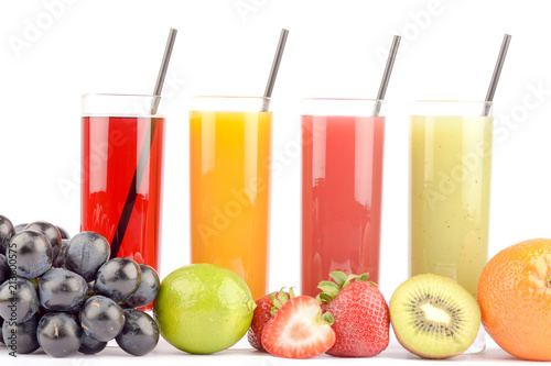 Fototapeta Fresh fruit juices on white