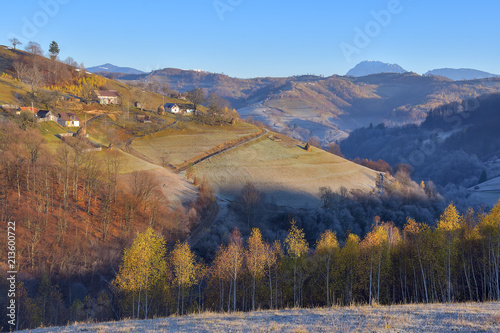 Plexiglas Herfst Autumn landscape in the Romanian Carpathians