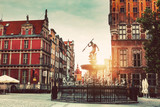 Neptune statue and Old Town architecture in Gdansk. - 213602507
