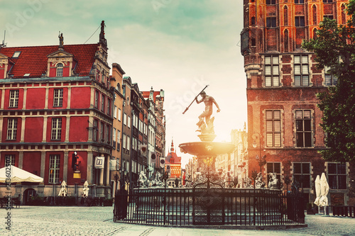 Neptune statue and Old Town architecture in Gdansk.