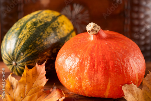 Fresh pumpkin on wooden table selective focus - 213607141