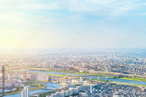 Asia Business concept for real estate and corporate construction - panoramic modern city urban skyline bird eye aerial view under sun & blue sky in Tokyo, Japan