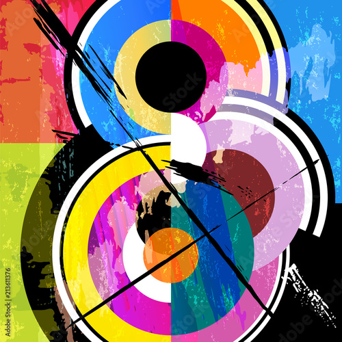 Fotobehang Abstract met Penseelstreken abstract circle background, retro/vintage style, with paint strokes and splashes