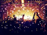 Rain of confetti on a concert crowd - 213612173