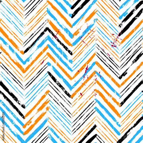 Fotobehang Abstract met Penseelstreken abstract geometric background pattern, with strokes and splashes, zigzag, seamless