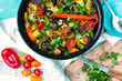 Cooking. vegetable stew on the table. chopped greens. produce - 213612582
