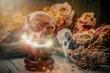 Leinwandbild Motiv Crystal orb in front of dryed roses and a ravenskull-magic scene