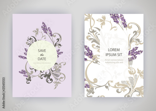 Set of card with flower lavender, leaves. Wedding ornament concept. Floral trendy poster, invite. Vector decorative greeting card or invitation design background - 213613133