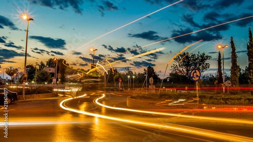Canvas Nacht snelweg Light Trails At Sunset