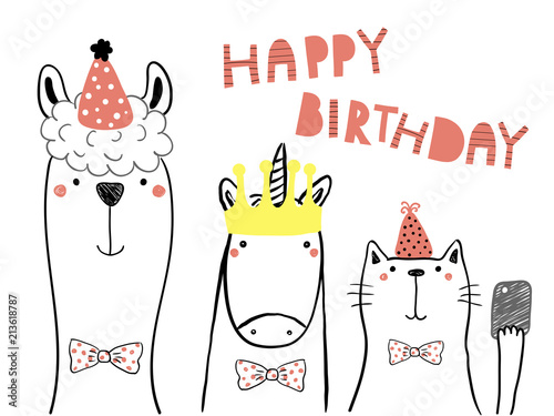 Hand Drawn Birthday Card With Cute Funny Llama Unicorn Cat In Party Hats