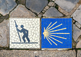 Camino de Santiago pilgrimage sign in Chartres, France.  - 213624769