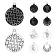 New Year Toys black,outline icons in set collection for design.Christmas balls for a treevector symbol stock web illustration. - 213624979