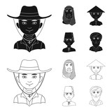 Arab, turks, vietnamese, middle asia man. Human race set collection icons in black,outline style vector symbol stock illustration web. - 213625783