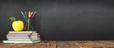Back to School Concept with Stationery Supplies and Blackboard - 213627951