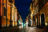 old historical part of Warsaw Poland in the light of night lights