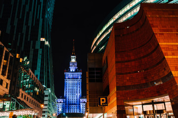 business buildings of Warsaw Poland in the light of night lights