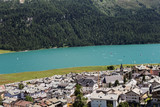 silvaplana by its lake in the Canton Graubunden (Grisons) in the Swiss alps in Switzerland in summer